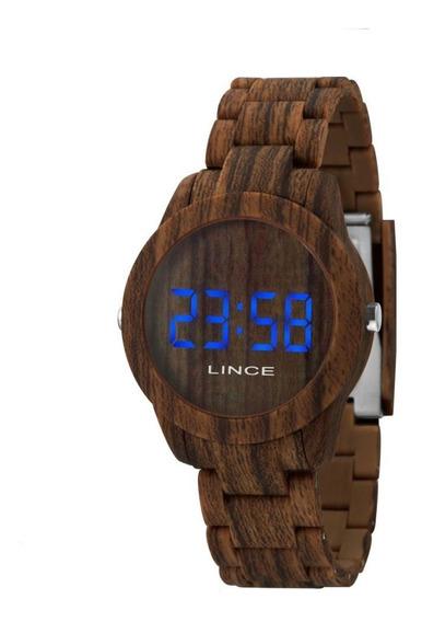 Relógio Feminino Lince Digital Amadeirado Resistente A Agua