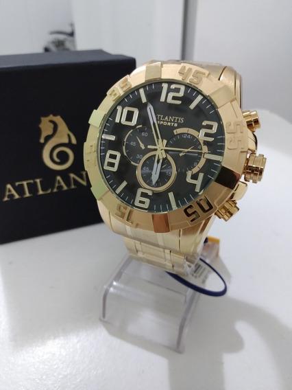 Relógio Masculino Gold Fundo Preto
