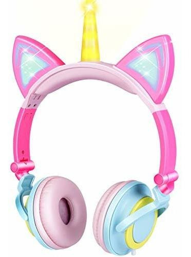 Gbd Unicornio Auriculares De Diadema Para Niños Ajustables C