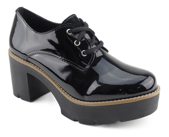 Sapato Feminino Preto Oxford Tratorado Salto Alto Sapatênis