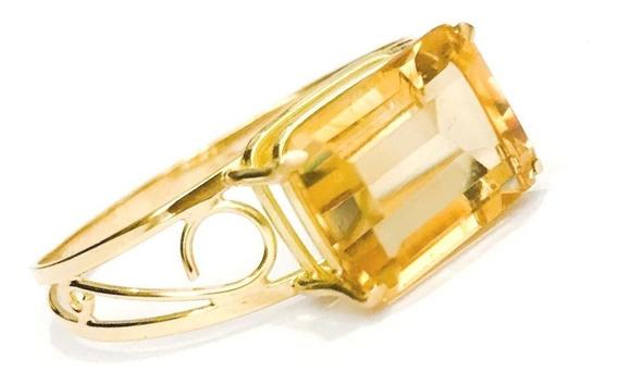 Anel Em Ouro 18k Com Pedra Natural Citrino Retangular