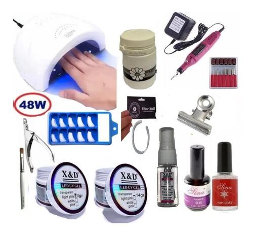 Xed Kit Unhas Gel Cabine Sun 48w Lixa Elétrica Profissional