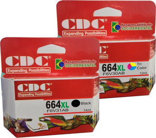 Kit Cartucho De Tinta Cdc 664xl Color + 664xl Preto