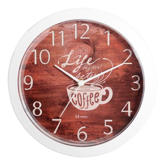 Relógio De Parede Cozinha Café Branco 26 Cm Herweg 660060