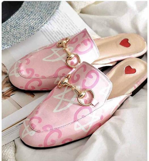 Mules / Slides Gucci Princetown Color Rosa Talla 4 Mex