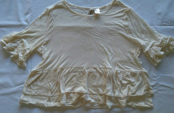 Blusa H&m Blanco Crema Talle Xs