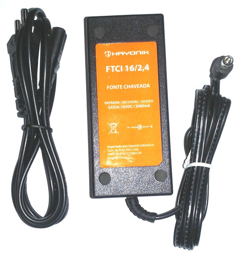 Fonte Energia P/ Teclados Yamaha Profissinal 16vdc 2,4 Amp