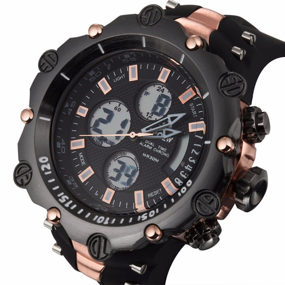 Relogio Masculino Dual Time Digital Led Gold Red Bd1171