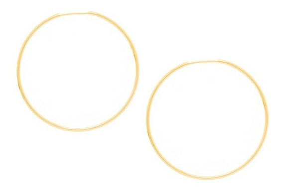Brinco Folheado Ouro 18k Grande Argola Fina 5 Cm De Diametro Delicado 522014 Joia Original Com Garantia E Nota Fiscal