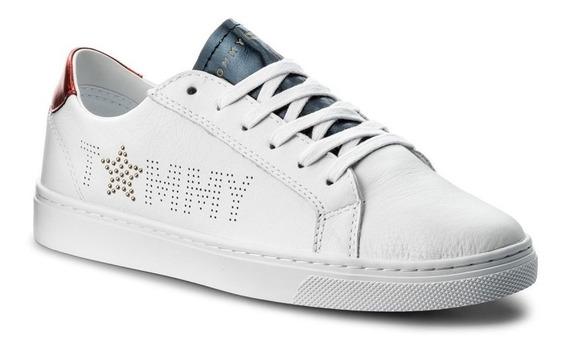 Tenis Tommy Hilfiger Star Metallic Blanco Fw0fw02349