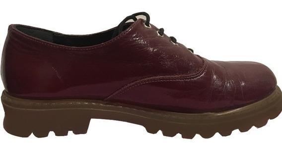 Zapatos Oxford De Charol Bordeaux.