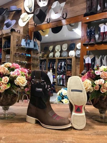 Bota Country Feminina Texana Marrom C/flor Branca Dahora
