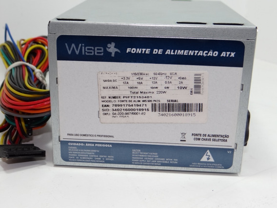 Fonte Atx 24 Pinos 2 Satas 220w. Wise Ws-500-p42s Kit 10 Pçs