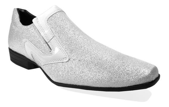 Sapato Brilhoso Branco Masculino Social Casual Bico Fino