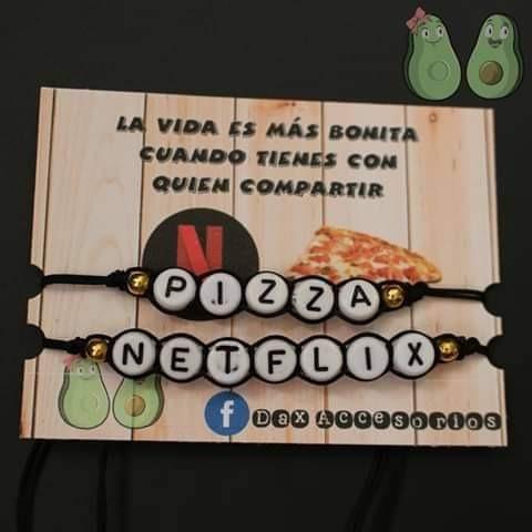 Pulsera Moda Para Parejas - Pizza Netflix -