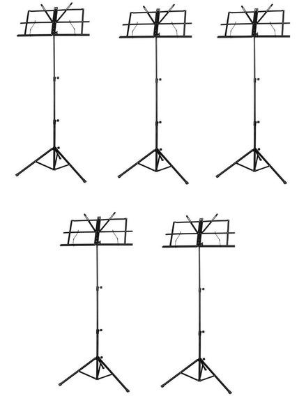 Estante Tripé De Partitura Telescópica Prática Kit C/5