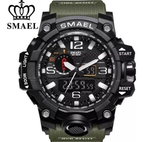 Relógio Esportivo Estilo Militar Verde Militar Smael 1545