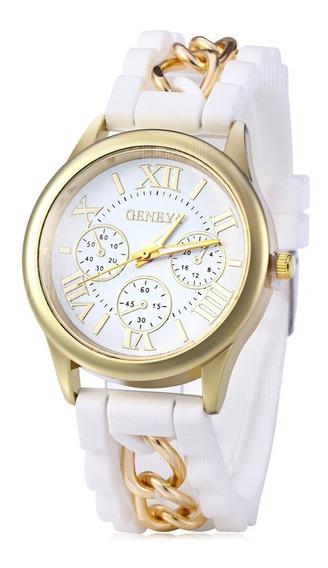 Relógio Quartz Feminino De Silicone Números Romanos