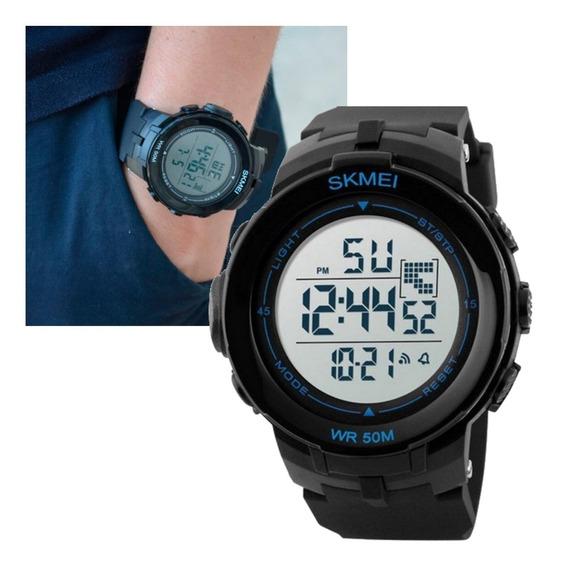 Relógio Skmei Masculino Digital 1127 Preto Com Azul