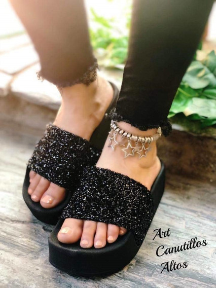 Sandalias Plataforma Altas Con Glitter Mujer Brillo