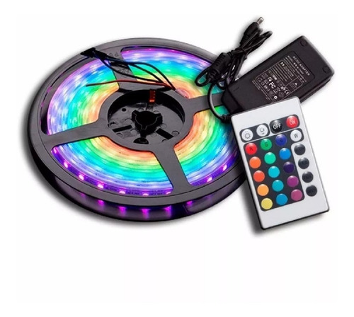Kit Completo Tira Luces Luz Led 5050 Rgb + Control + Fuente