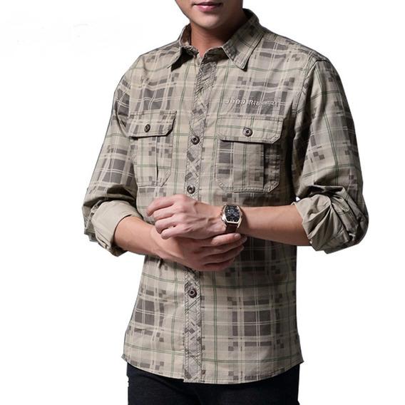 Camisa Mangas Largas Para Hombre, De Algod?n A Cuadros