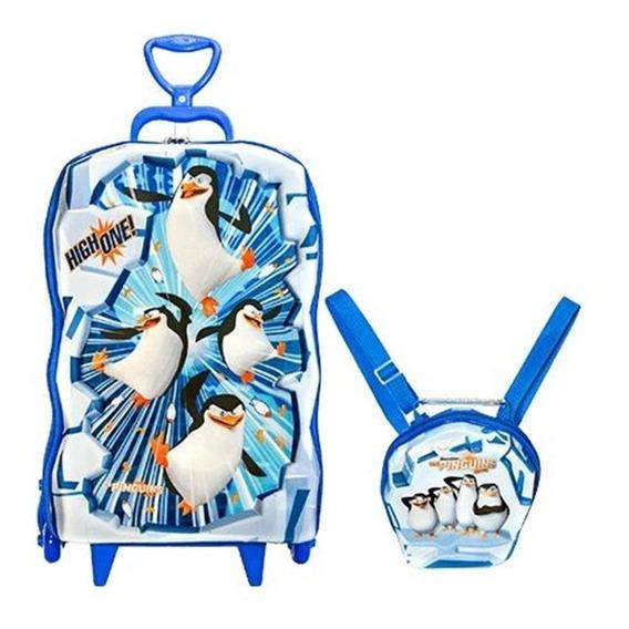 Mochila Escolar 3d Lancheira Maxtoy Pinguins De Madagascar