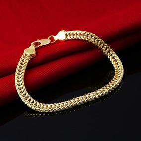 Pulseira Unissex Corrente Tipo Cordão Dourada Inox Elegante