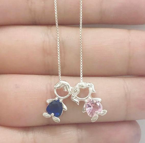 Colar Casal Menino Pedra Azul E Menina Pedra Rosa Em Prata