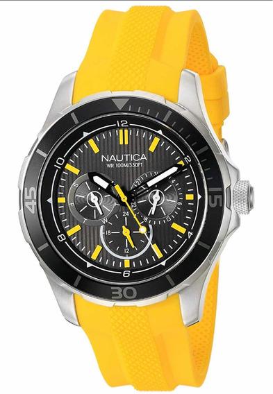 Regalo Para Hombre Reloj Náutica Con Subdiales Amarillo