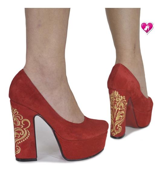 Stillettos De Cuero Bordado Modelo Corona De Shoes Bayres