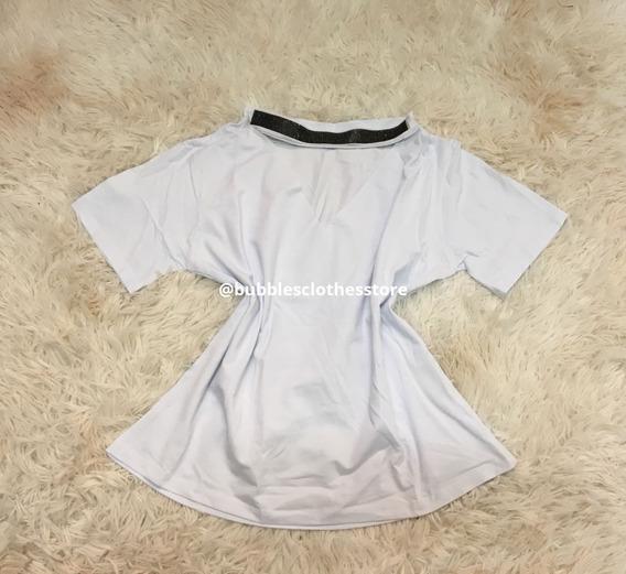 Camiseta Tshirt Blusa Feminina Gola Chocker Brilho Branca