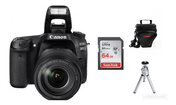 Câmera Canon 80d C/18-135mm+64gb+bolsa+tripé
