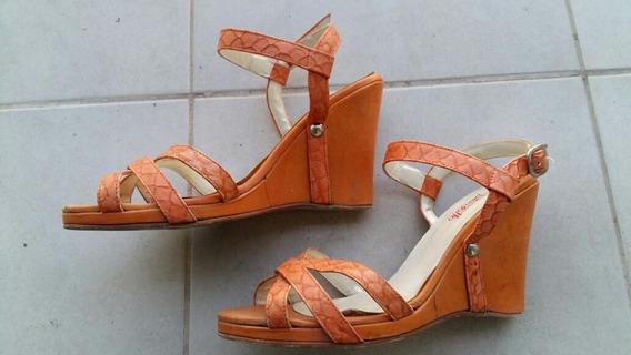 Zapatos Mujer Sandalias Naranja Cuero 40 Tendencia 2020