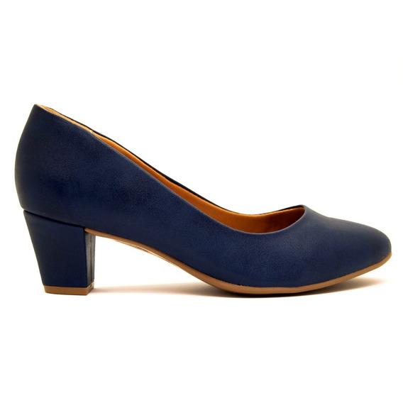 Zapatos Clásicos Mujer Cuero Ecológico Azul Ramarim Taco 5 P