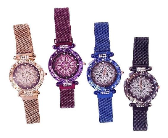 Relógio Feminino Flor Fivela Ímã Com Bracelete - Preto