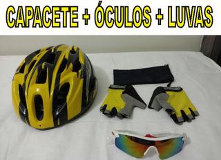 Kit Bike Capacete Amarelo + Óculos Espelhado + Luvas Amarela