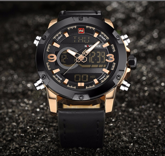 Relógio Masculino Naviforce Nf9079rg Original Preto Dourado