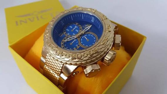 Relógio Masculino Dourado Novo Grande De Pulso Frete Gratis