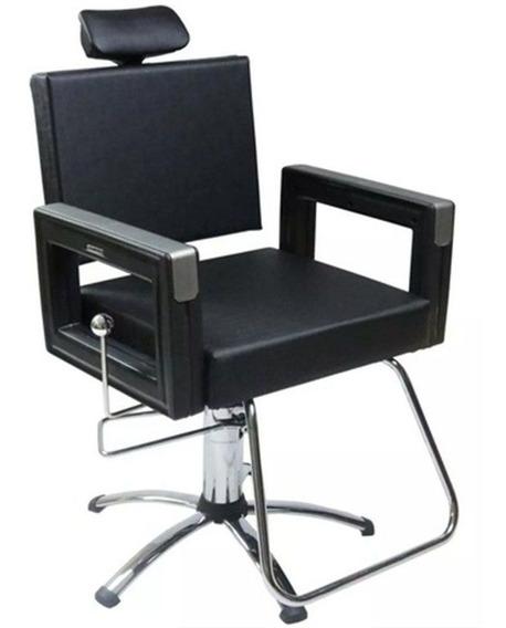 Cadeira Reclinável Barbeiro/maquiagem/salão - Preta Square