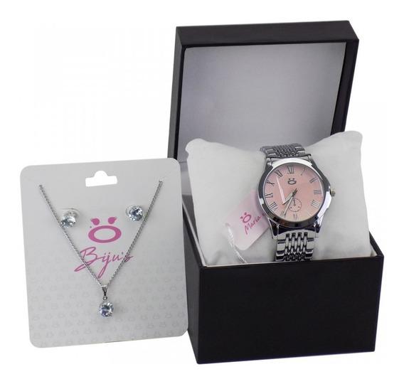 Relógio Feminino Casual Prata/rose Analógico Colar E Brinco