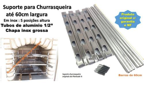 Imagem 1 de 5 de Suporte Inox P Churrasqueira 5 Posições + 6 Tubos Alum  60cm