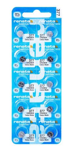 Imagem 1 de 4 de 10 Pilhas Baterias 377 1.55v Renata Relógio De Pulso Casio