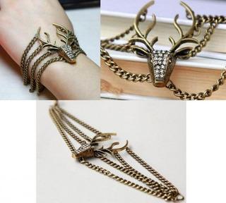 Pulseira Bracelete Cervo Veado Metal Ouro Velho Strass