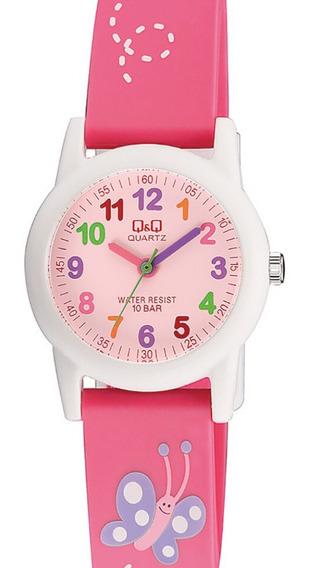 Relógio Feminino Infantil Branco E Rosa Q&q Ponteiro +nf