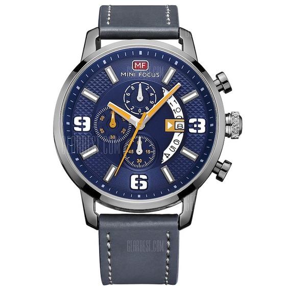 Relógio Mini Focus Pulseira De Couro. Barato Na Promoção