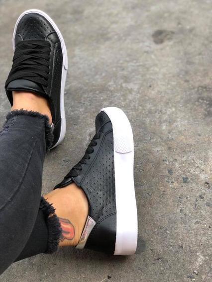 Zapatillas Sneakers Bajitas Con Picadito Cuero Ecologico