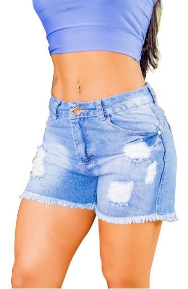 Short Jeans Feminino Desfiado Cintura Alta Lindo Rasgado
