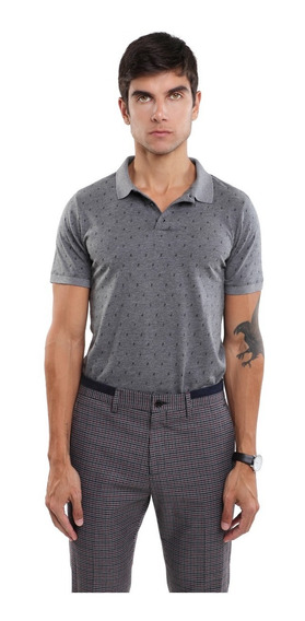 Camisa Hombre Tipo Polo Micro Estampado Manga Corta Lob