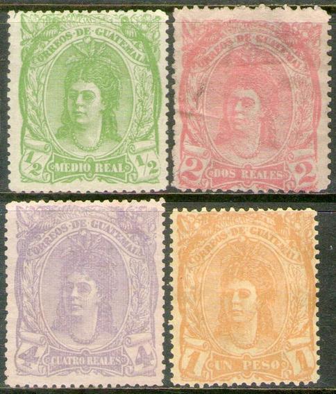 Guatemala Serie Completa X 4 Sellos Mujer Nativa Año 1878